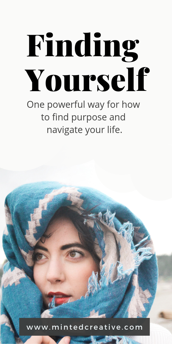 Portrait of woman with blue scarf over her head with text overlay - finding yourself. one powerful way for how to find purpose and navigate your life.