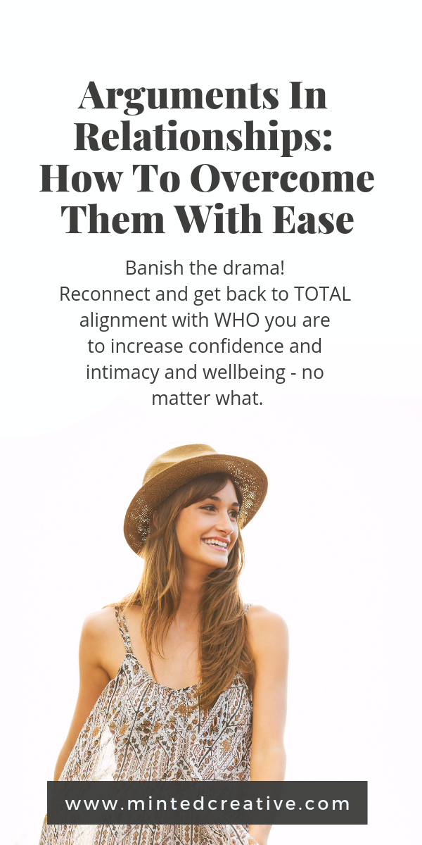 brunette woman laughing in a field with text overlay - arguments in relationships. How to overcome them with ease. Banish the drama. reconnect and get back to total alignment with who you are to increase confidence, intimacy and wellbeing - no matter what.