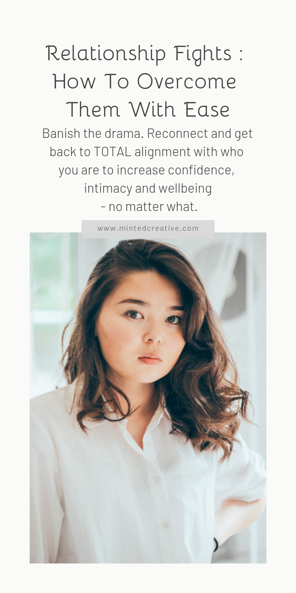 portrait of asian woman with text overlay - Relationship Fights : How To Overcome Them With Ease. Banish the drama. Reconnect and get back to TOTAL alignment with who you are to increase confidence, intimacy and wellbeing - no matter what.